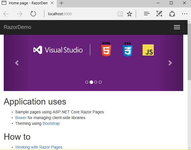 Création d'une application Web avec Razor Pages